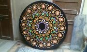 Black Marble Coffee Table Top Floral Inlay Multi Stones Kitchen Home Decor H1972