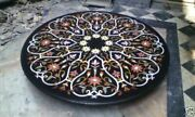 Marble Dining Table Top Multi Inlay Gemstone Mosaic Handmade New Year Deco H1974