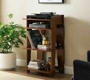 Vinyl Record Player Turntable Stand Audio Storage Rack Brown Media Wood Console