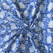 Sanganeri Hand Block Floral Print Indian Cotton Voile Dress Fabric By The Yard