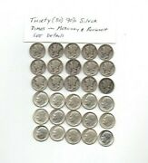 30 90 Mercury And Roosevelt Dimes 1940and039sand1950/60and039s- 2.169 Oz.troy Silver