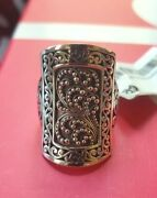 New Lois Hill Carved Filigree Statement Sterling Silver Ring Size 7