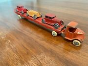 Rare Tootsie Toy Antique Vintage Semi Truck With Trailer And 3 Cars