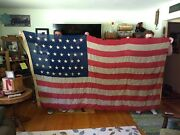 C. 1896 Large Antique 45 Star Wool And Linen American Us Naval Flag, 10 Ft X 5 Ft