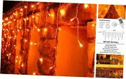 Halloween Lights Icicle Lights400 Led 39 Ft 8 Modes With 80 Drops Orange