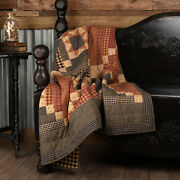 New Primitive Throw Patchwork Quilted Quilt Maisie Barn Red Black Tan Lodge