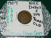 Rare Very Old Antique 1907 Us Indian Head Penny Collectible Cent Collection Coin