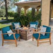 Mark Outdoor 4-seater Wood Chat Set With Fire Table By