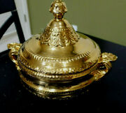 Italy Marked Glilded Gold Tone Porcelain Soup Tureen Stunning 8 X 4.5 Base