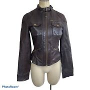 Gianni Bini Womens Xs Leather Cafe Racer Jacket Espresso Brown Full Zip Fitted