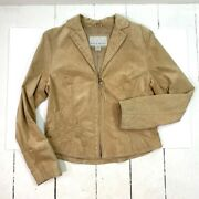 Nine West Womens Jacket Brown Notch Lapel Zip Up Lined Embroidered Leather M