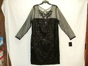 Brianna Black Evening/party Dress Mesh Sleeves Sequins Womens 20w New Y