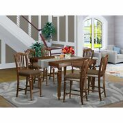 East West Furniture 7-piece Pub-height Table Set With Table Natural N/a