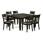 Cappuccino Rubberwood Dinette Table With Leaf And 6 Kitchen Faux Leather 7-piece