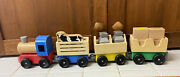 Melissa And Doug 4 Car Wooden Farm Train Set 4545 With Cow And Produce