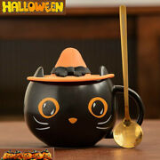 2021 Starbucks Black Cat Cup With Witch Cap Lidandspoon Water Mug Halloween Gifts