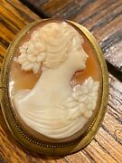 Antique Victorian Cameo Pin Broach Set In Filigree 10k Gold Filled Stunning