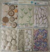 Martha Stewart Crafts Stickers Lot Of 7 Pearl Garden Floral Leaves Country Doily