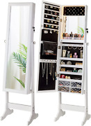 Luxfurni Led Light Jewelry Cabinet Armoire, Standing Mirror Makeup Lockable Larg