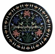Black Marble Coffee Table Top Precious Floral Marquetry Inlay Art Home Deco B230