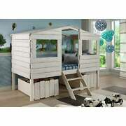 Donco Kids Rustic Sand Twin Tree House Loft Bed With Storage Rustic Sane Twin Lo
