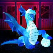 6 Ft Tall Halloween Inflatable Sitting Ice Dragon With Globe Blow Up Inflatable