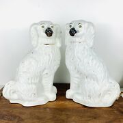 Authentic Antique Press Mold Matching Pair Staffordshire Spaniels