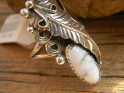 Sterling Silver Navajo Signed Ladies Ring White Turquoise Size 8