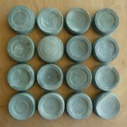 16 Vintage Mason Jar Zinc Lids W/ Glass Liner Cleaned Ball Atlas And Unmarked