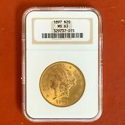 1897 20 Gold Liberty Double Eagle Coin Ngc Ms63