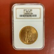 1914-d 20 Gold Liberty Double Eagle Coin Ngc Ms63