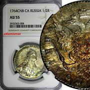 Russia Catherine Ii Silver 1764 Spb Ca 1/2 Rouble Ngc Au55 Better Date C 66.2a