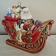 Fitz And Floyd Centerpiece Cookie Jar Santa's Sleigh In Box Holiday Christmas
