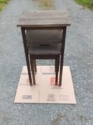 Antique Cushman Telephone Table With Nesting Stool - For Possible Restoration