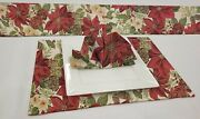 Christmas Poinsettia Placemat Table Runner Cloth Napkins Table Linens Set