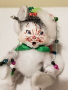 Annalee Dolls 2010 Christmas Cat Wrapped In X-mas Lights 75th Anniversary