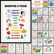 28 Pieces English-spanish Educational Posters For Toddlers For Nursery Classroom