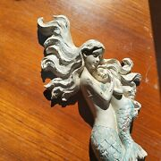 New Lg Mermaid Sculpture Holding Her Child Wall Decor Mint And White Resin