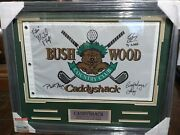 Caddyshack Cast Signed 4 Golf Flag Bill Murray Chevy Chase Michael O'keefe Coa
