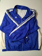 Adidas Vintage Blue White Colorway Striped Sleeves With Zipper Pockets Menand039s 3xl