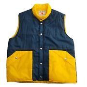 Vintage Field And Stream Sleeveless Vest Size Large Snap Up Blue Yellow Guc