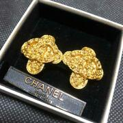 Auth Vintage Cc Logo Gold Clip On Earrings 94a Used From Japan F/s