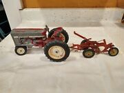 Vintage Red Tractor Collectible Toy Case Plower International Ertl Usa 14.5 L