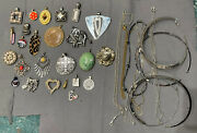 Huge Lot Of 25 Vintage To Now Assorted Pendants Multi Tone +10 Chains/chokers
