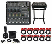 Mackie Ppm1012 12 Ch 1600w Powered Mixer, 32 Bit Fx+stand+headphones+10 Cables