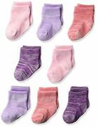 Hanes Ultimate Baby Flexy Ankle Length Socks 8-pack Purple/pink Size Eqsc