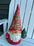 Jim Shore Large Christmas Gnome 20 Tall New 2021 Indoor Or Outdoor