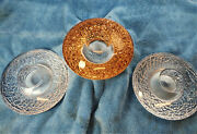 3 Orrefors Kosta Boda Crystal Discus Votive Candle Holders, 1 Gold 2 Clear-mint