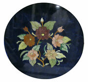 Blue Marble Coffee Side Table Marquetry Mosaic Floral Arts Inlay Work Deco H2037