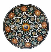 Black Marble Dining Table Top Carnelian Mosaic Floral Inlay Art Home Decors B134